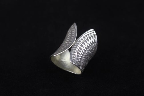 Curved Fine Silver Statement Ring 'Tribal Curves'