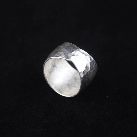 Cold Hammered Silver Artisan Ring 'Traditional Hammered'