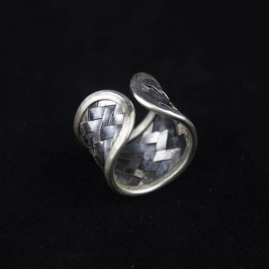 Two Tone Woven Silver Artisan Ring 'Rattan Shadow'