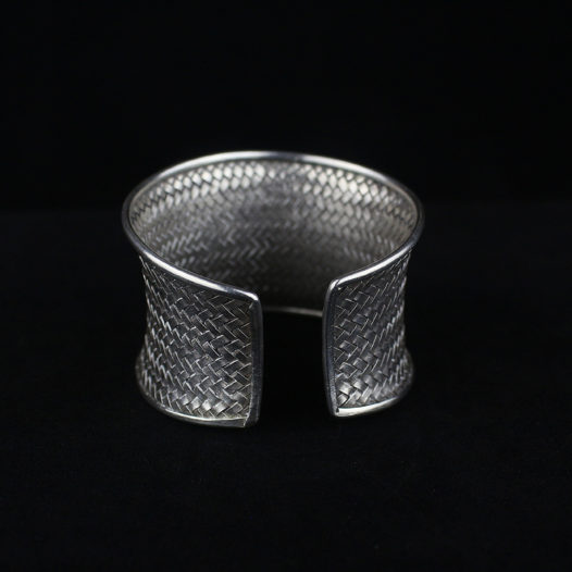 Woven Silver Statement Cuff Bracelet – 'Rattan Traditions'