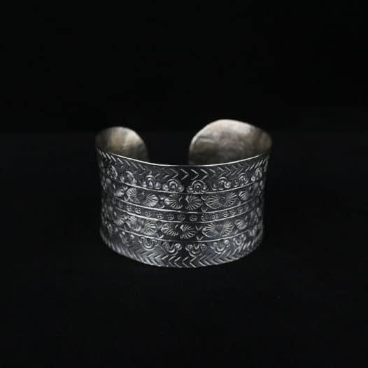 Fine Silver Statement Cuff Bracelet – 'Tribal Heritage'