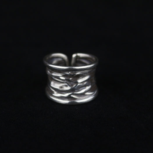 Free Form Hammered Silver Ring 'Primitive Free Form'
