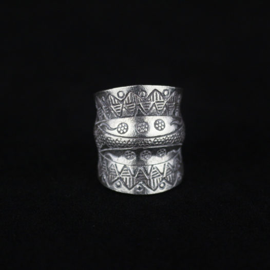 Double Groove Fine Silver Ring with Tribal Etchings