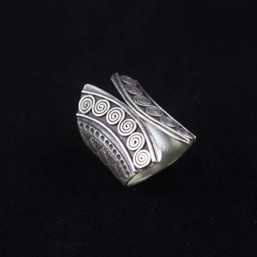 Tribal Silver Spiral Artisan Ring 'Tribal Spiral'