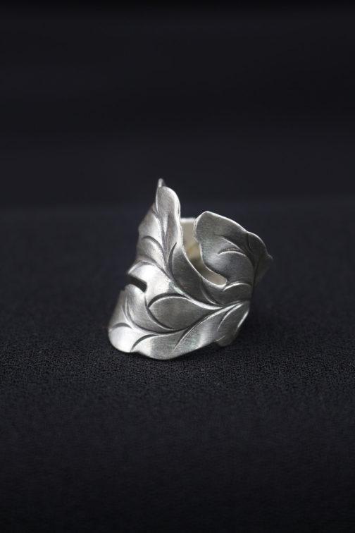 Brushed Silver Leaf Wrap Ring 'Leaf Cutout'