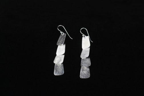Artisan Silver Four Tab Statment Earrings