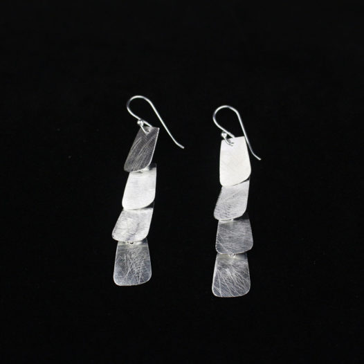 Artisan Silver Four Tab Statment Earrings