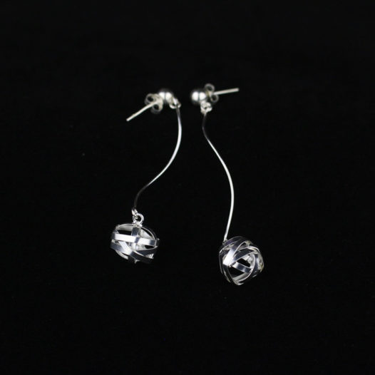 Silver Wrapped Post Drop Earrings