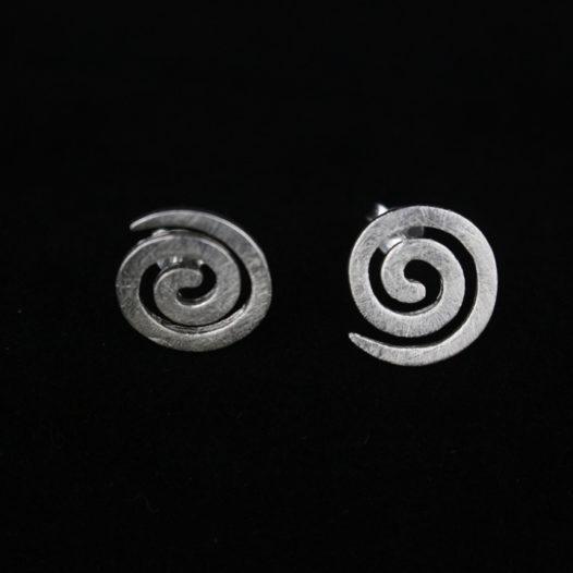 Tribal Spiral Silver Post Earrings