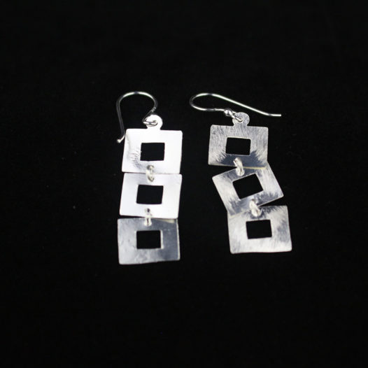 Cutout Silver Three Square Drop Earrings