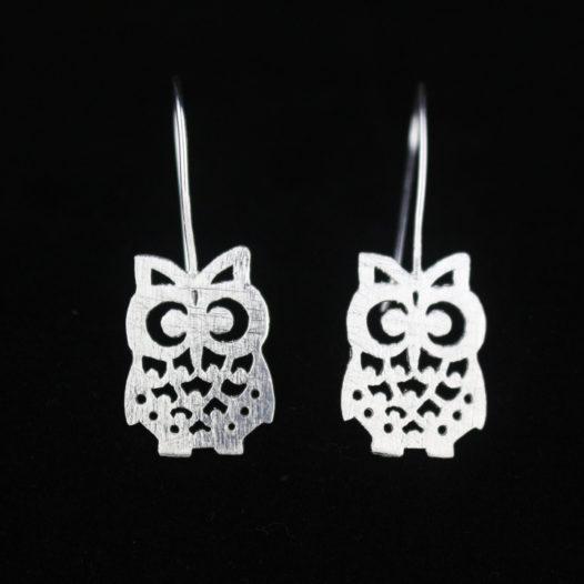 Silver Owl Long Wire Earrings