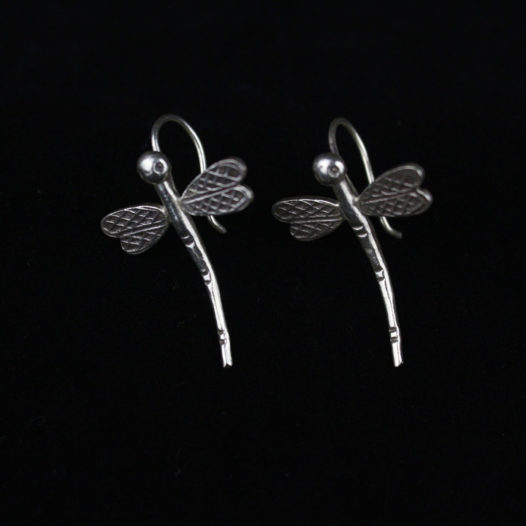 Hanging Dragonfly Silver Drop Earrings