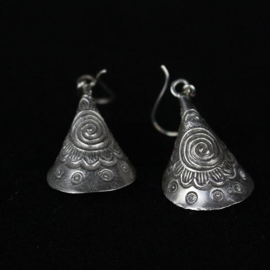 Tribal Silver Cone  Earrings