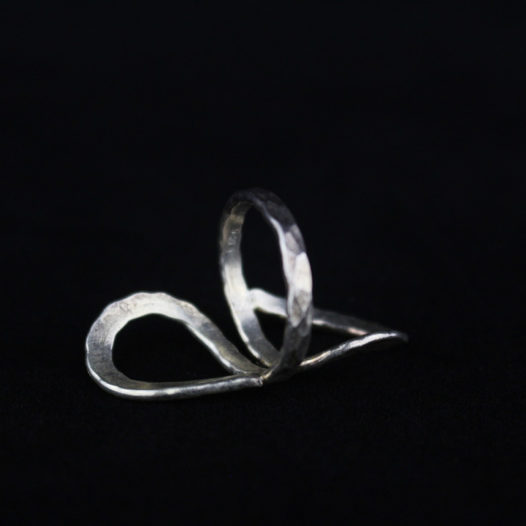 Hammered Silver Heart Ring For Women 'Abstract Love'