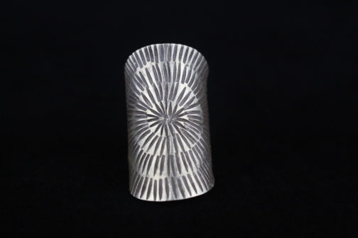 Long SIlver Tribal Sun Statement Ring