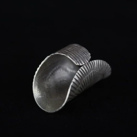 Large Silver Statement Ring 'Tribal Sunrise Stretch'