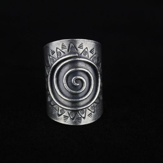 Silver Spiral Ring for Women 'Tribal Sunshine'