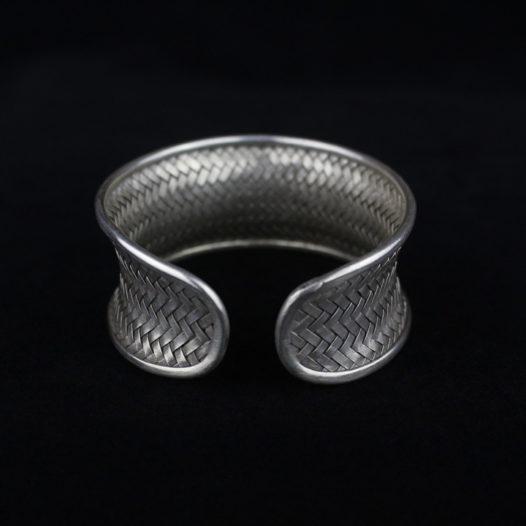 Silver Rattan Medium Cuff Bracelet