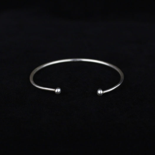 Smooth Silver Bracelet with Round Ends