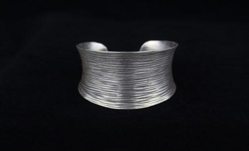 Brushed Wire Silver Cuff Bracelet