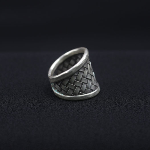 Traditional Woven Silver Statement Ring 'Old World Silver Rattan'
