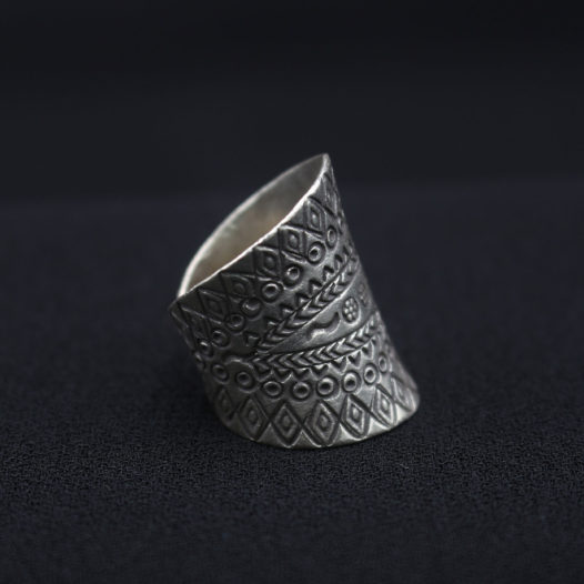 Tribal Royalty Silver Statement Ring for Women
