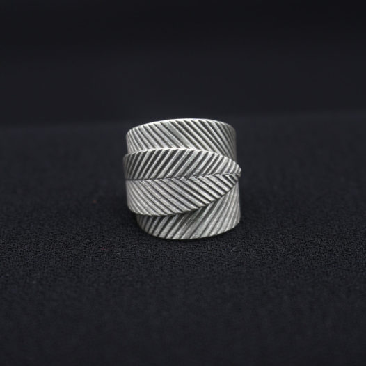 3D Leaf Wrap Silver Ring for Women