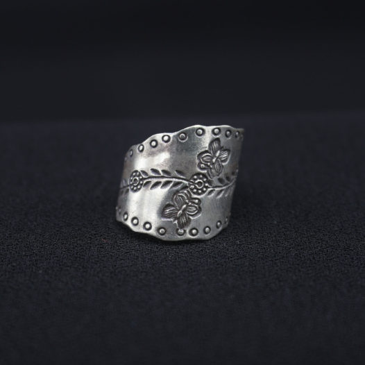 Curved Blossom Silver Ring for Women