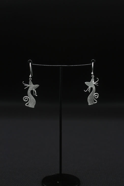 Sassy Cat Silver Earrings for Women