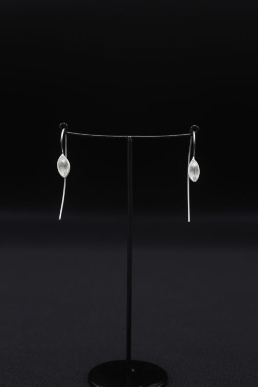 Silver Long Wire Cup Earrings