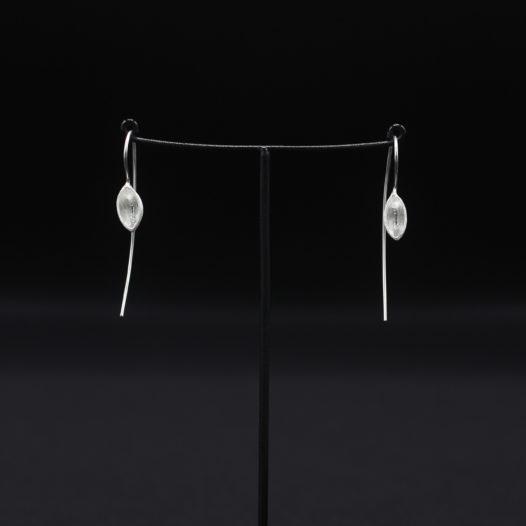 Silver Long Wire Cup Earrings