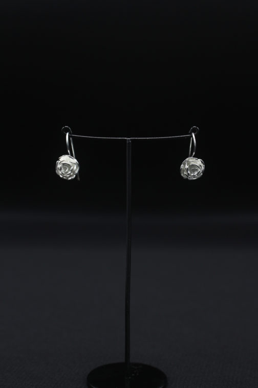 Silver Flower Petal Earrings