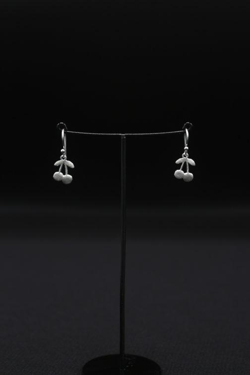 Silver Cherry Hook Earrings