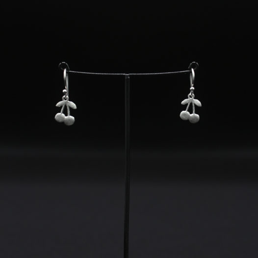 Silver Cherry Hook Earrings