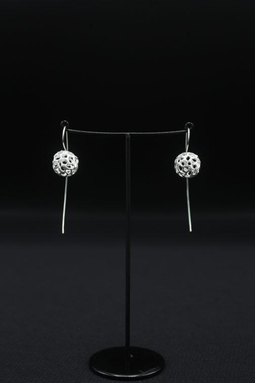Silver Long Wire Sphere Cutout Earrings