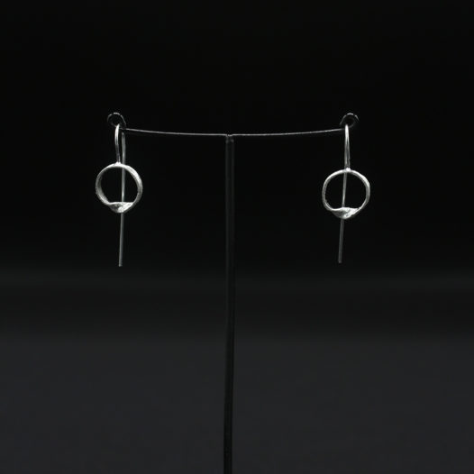 Twisted Circle Silver Earrings