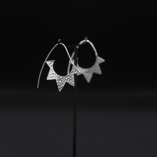 Silver Half Sun Cutout Earrings