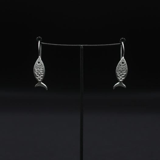 Silver Fish Drop Wire Earrings
