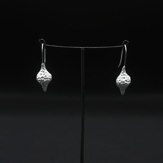 Hammered Silver Seashell Earrings for Women