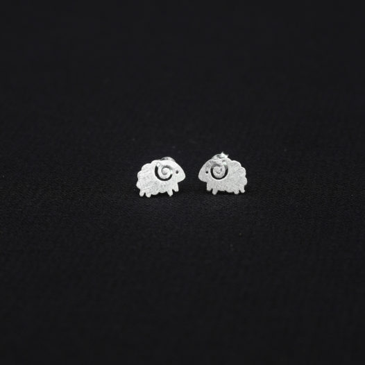 Silver Sheep Stud Earrings for Women