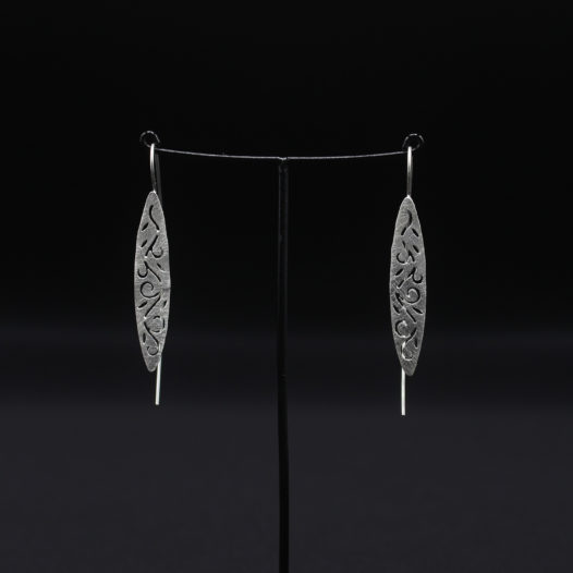 Narrow Cutout Silver Earrings for Women