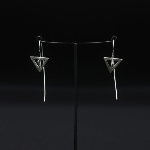 3D Triangle Long Wire Silver Earrings for Women