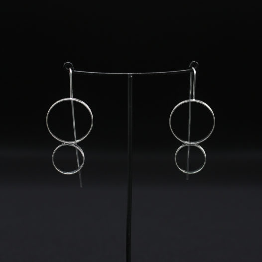 Double Hoop Silver Long Wire Earrings