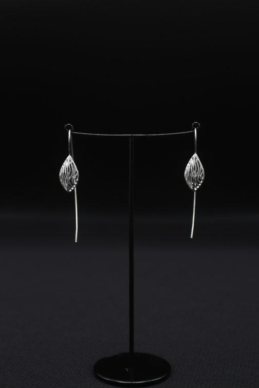 3D Silver Coral Earrings
