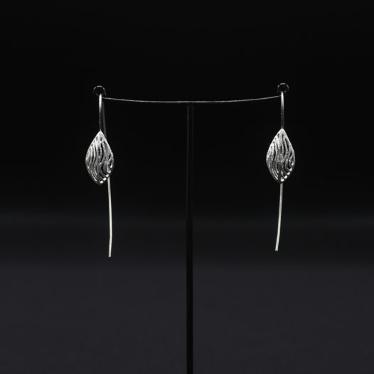 3D Silver Coral Earrings
