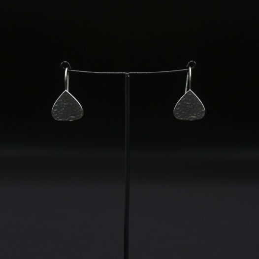 Hammered Spade Silver Earrings