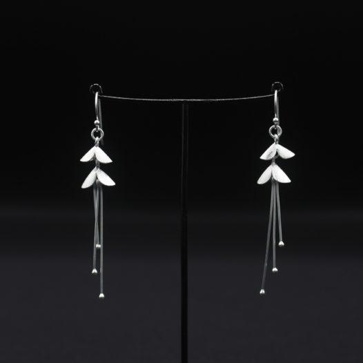 Two Petal Triple Drop Silver Earrings