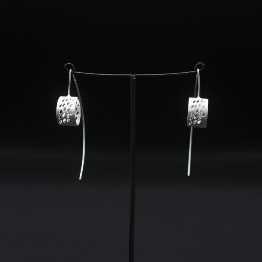 Cylinder Cutout Silver Earrings