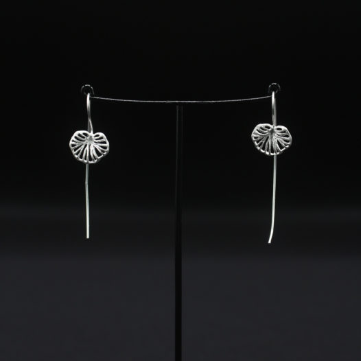 Silver Lilly Pad Long Wire Earrings for Women