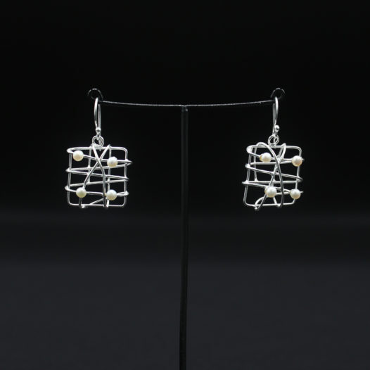 Square Free-Form Silver Earrings for Women